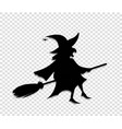 black silhouette of witch fly on broomstick vector image vector image