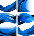 Blue dark waves isolated set on white background vector image vector image