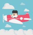 business man flying a plane retro vector image