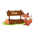 Cartoon zoo Fox Sign vector image vector image