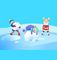 children play with snow winter holidays vector image vector image