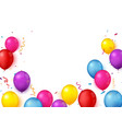 colorful confetti celebration banner with balloons vector image vector image