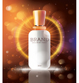 Cosmetic Ads Template with White Bottle vector image