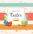 easter poster with rabbit eggs flowers vector image vector image