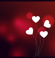 elegant hearts on red bokeh background vector image vector image