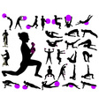 exercise collection silhouettes vs vector image vector image