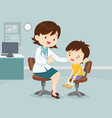 female doctor comforting her crying patient kid vector image vector image