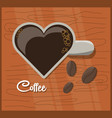 flat cup of coffee in the shape of a heart vector image