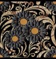 floral seamless pattern black flourish background vector image vector image