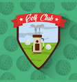 golf club bag with clubs balls filed badge vector image vector image