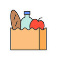 grocery bag food and gastronomy set filled vector image vector image