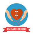 hand of donor with heart vector image vector image
