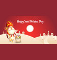happy saint nicholas day - winter scene greeting vector image vector image