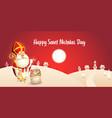 happy saint nicholas day - winter scene greeting vector image
