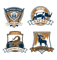 Hunting club icons safari hunt emblems vector image vector image