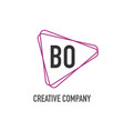 initial letter bo triangle design logo concept vector image vector image
