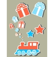isolated holiday train with gifts boxes vector image