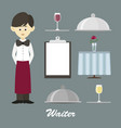 isolated professional waiter vector image vector image