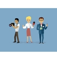 Journalists Team People Group Flat Style vector image vector image