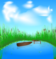 lake and boat vector image