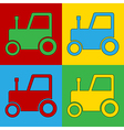 Pop art tractor icons vector image