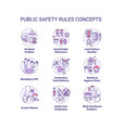 public safety rules concept icons set vector image