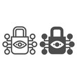 retina scanning lock line and glyph icon eye vector image vector image