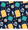 seamless pattern with travelers suitcases vector image