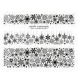 seamless snowflake border collection xmas set vector image