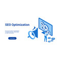 seo optimization 3d blue template vector image