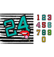 Set of retro university team number signs vector image