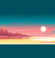 sunset in mountains landscape background vector image