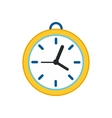 Wall clock with yellow rim icon flat style vector image vector image