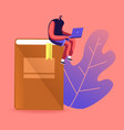 young male character studying sitting on huge book vector image vector image