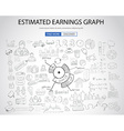 Estimate Earnings concept with Doodle design style vector image
