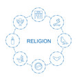8 religion icons vector image vector image