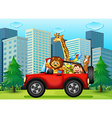A jeepney with animals vector image vector image