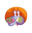 abstract design of two hugging women with vector image