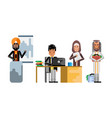 arabic and asian business staff working in office vector image vector image