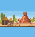 aztec village landscape with tribe people ancient vector image