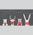 banner with cute winter animals with presents and vector image vector image
