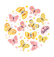 beautiful butterflies seamless pattern cirular vector image vector image