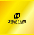 black letter n emblem with golden background vector image