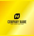 black letter n emblem with golden background vector image vector image