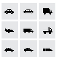 black vehicles icons set vector image vector image