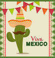 cactus with mexican hat and mustache to celebrate vector image vector image