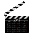 calendar for 2017 movie clapper board vector image