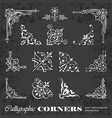 calligraphic decorative corners on chalkboard vector image vector image