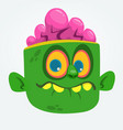 cartoon cute happy zombie head vector image