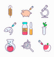 collection of genetic modification icons gmo vector image vector image